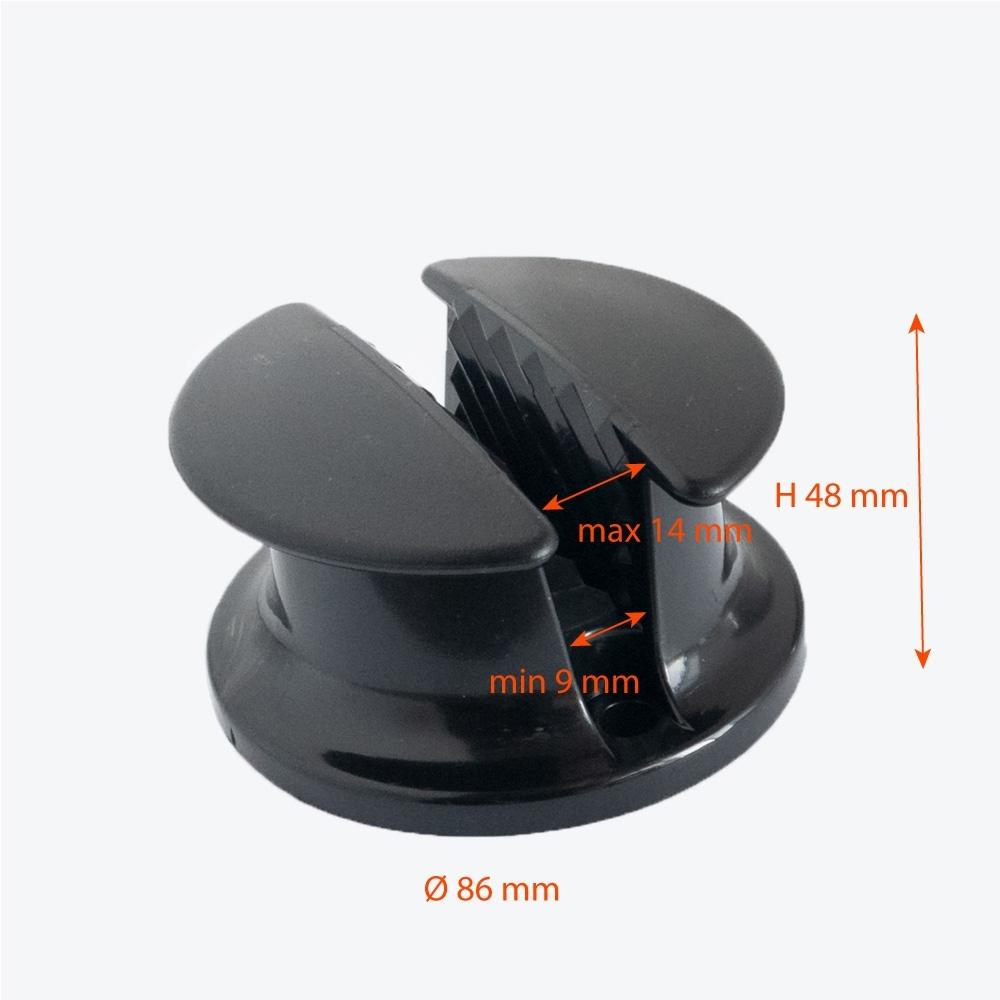 Runos 12 mm virvės fiksatorius, juodas, 2 vnt.